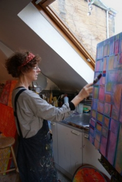 The artist Francesca Wilkinson Shaw at work in her studio