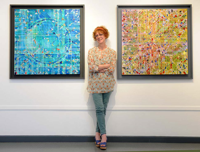 The artist Francesca Wilkinson Shaw with exhibition paintings